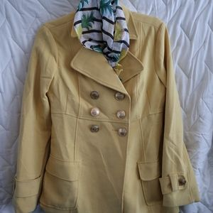 Yellow Peacoat with Gold Buttons